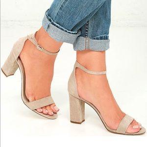 NIB Nude Blush Ankle Strap Block Heel Sandal